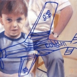 Boy with His Toy Airplane, Oil on canvas, 73x100cm - 2003